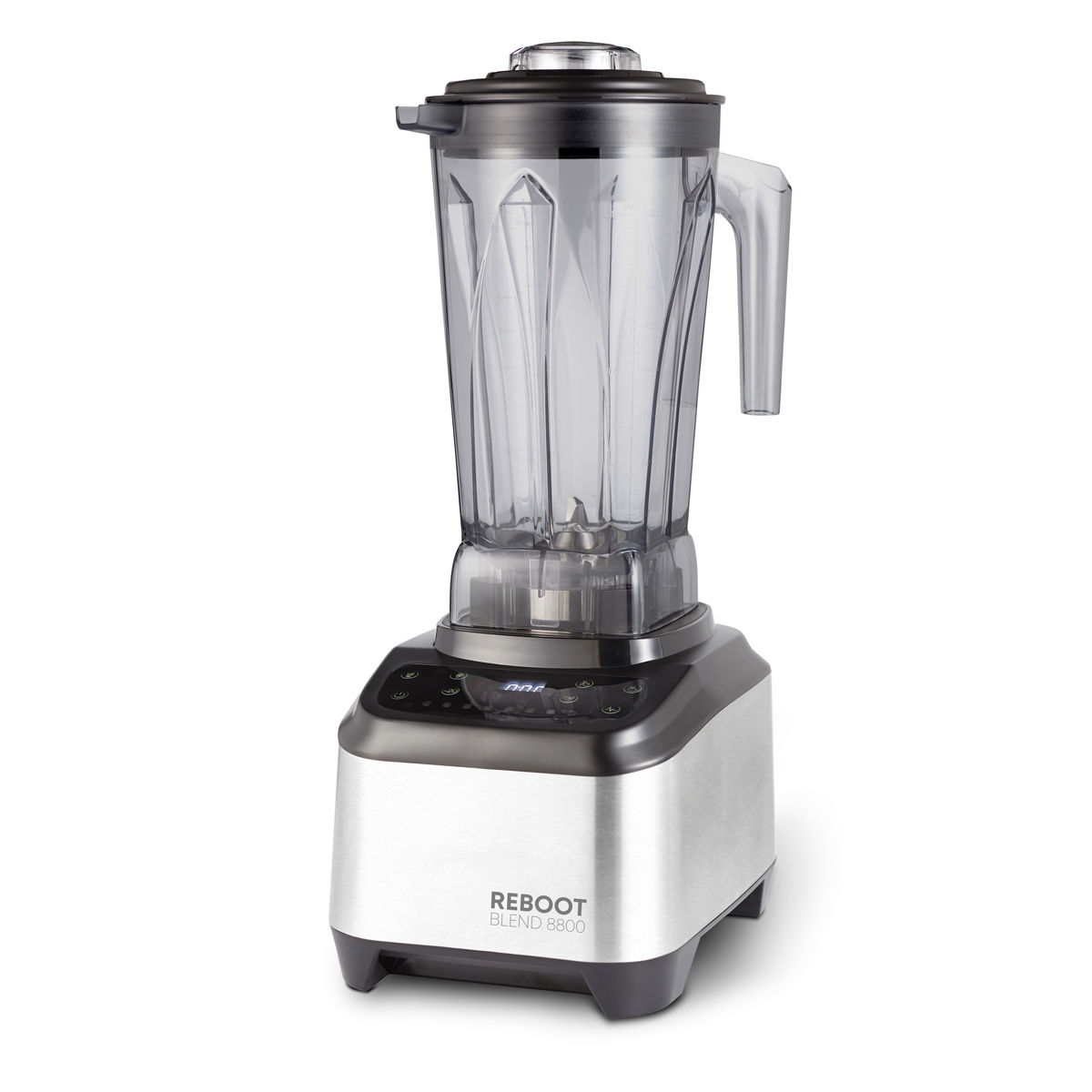 เครื่องปั่นเพื่อการพาณิชย์ Reboot blend 8800 commercial blender.5 preset program cycles for smoothies, fruit/vegetable shake, hot drinks/soups and ice cream./sorbets. Manual step less speed control and pulse. Blender knife: 6 blade 304 stainless steel using double NSK bearings from Japan and double leak seal for improved durability. 1500 watt. BPA free plastic